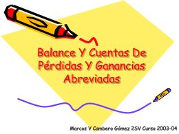 Balance Y Cuentas De Perdidas Y Ganancias Abreviadas