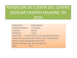 RENDICION DE CUENTA DEL CENTRO ESCOLAR CASERIO …