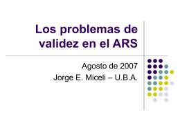 Los problemas de validez en el ARS