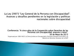"""La Ley 29973 """"Ley General de la Persona con Discapacidad"""