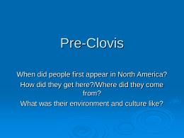 Pre-Clovis - SUNY Oneonta
