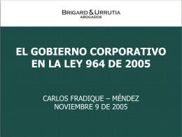 EL GOBIERNO CORPORATIVO EN LA LEY 964 DE 2005