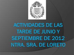 ACTIVIDADES DE LAS TARDE DE JUNIO Y SEPTIEMBRE DE …