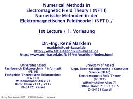 NFT I - WS 2002/03 - Lecture 1 / Vorlesung 1