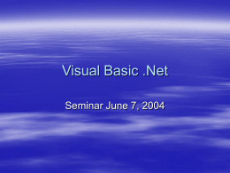 Visual Basic .Net - Nassau Community College