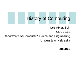 History of Computing - Computer Science & Engineering