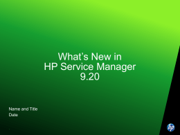 What's New in HP Service Manager 9.20