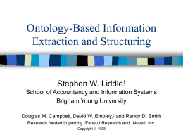 Ontology-Based Information Extraction and Structuring