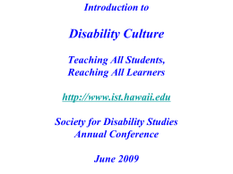 PowerPoint Presentation - Disability Culture: Global and