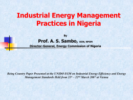 Industrial Energy Management Practices in Nigeria