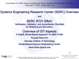SERC RT21 - SysML-based approach for M&S VV&A