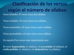 Clasificacion de los versos segun el numero de silabas:
