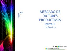 MERCADO DE FACTORES PRODUCTIVOS Parte I
