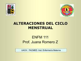 ALTERACIONES DEL CICLO MENSTRUAL