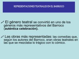 REPRESENTACIONES TEATRALES EN EL BARROCO