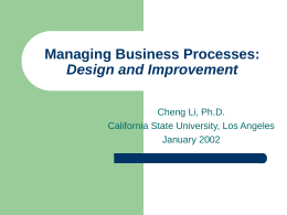 Work Process Design and Improvement