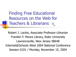 Finding Free Educational Resources on the Web for …