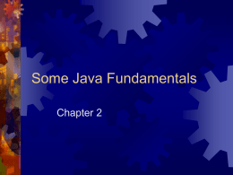Some Java Fundamentals