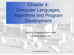 Chapter 4: Computer Languages, Algorithms and …