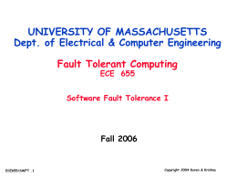 Part14: Software fault Tolerance I