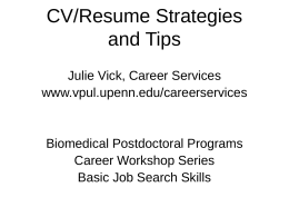 CV / Resume Strategies and Tips