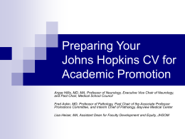 Johns Hopkins CV for Academic Promotion