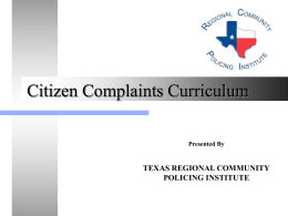 Texas Regional Community Policing Institute…