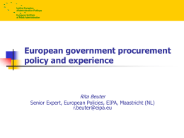 Recent Developments in EU Procurement Policy