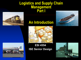 Logistics and Supply Chain Management An Introduction