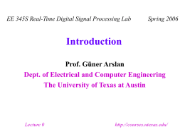 Introduction - Embedded Signal Processing Laboratory