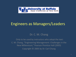EAS 521 Chapter 6 - Engineers as Managers/Leaders