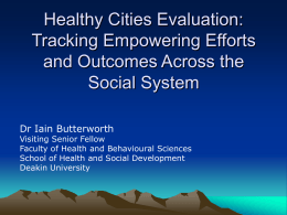 Healthy Cities, Municipal Public Health Planning, Sense of