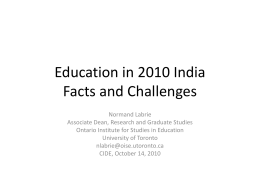 The Indian Education System Facts and challenges in 2010