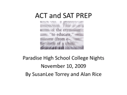 ACT and SAT PREP - Paradise Elementary School