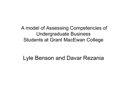 A model of Assessing Competencies of Undergraduate