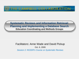 Systematic Reviews and Information Retrieval: Problem