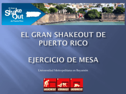 El Gran ShakeOut de Puerto Rico Ejercicio de Mesa