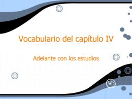 Vocabulario del capitulo IV