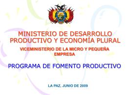 MINISTERIO DE DESARROLLO PRODUCTIVO Y …