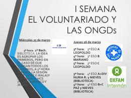 I SEMANA EL VOLUNTARIADO Y LAS ONGDs