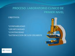 PROCESO: LABORATORIO CLINICO DE PRIMER NIVEL