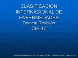 CLASIFICACION INTERNACIONAL DE ENFERMEDADES CIE …