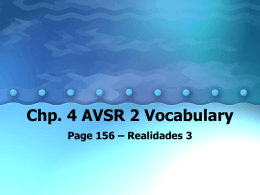 Chp. 4 AVSR 2 Vocabulary