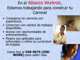 En el Alliance Worknet, Estamos trabajando para construir
