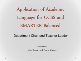 Academic Language for CCSS and SMARTER Balanced