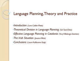 Language Planning, Theory and Practice