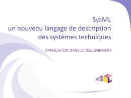 SysML un nouveau langage de description