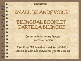 SMALL ISLANDS VOICE BILINGUAL BOOKLET CARTILLA …