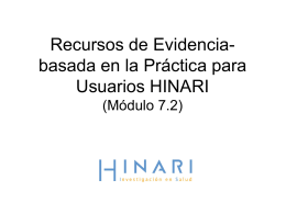 Evidence-based Resources for HINARI Users