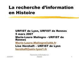 La recherche d 'information en Histoire